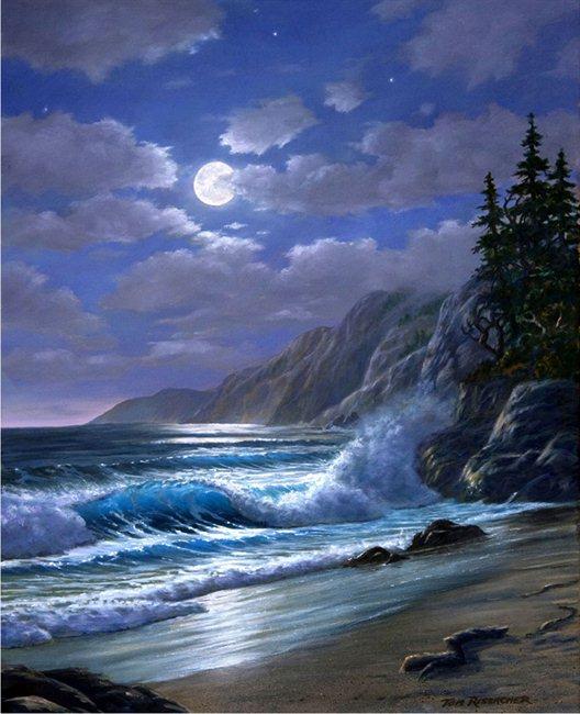 Mendocino Moonlight Tom Rissacher Realist Paintings